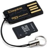 microSDHC-Karte + Klingston FCR-MRG2 USB-Adapter