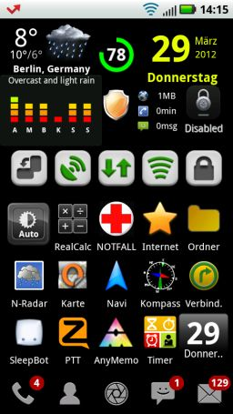 Mein LauncherPro Home-Screen